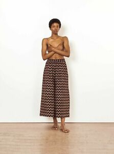 Ace & JIG Jo Midi culottes pants in Black Herringbone Size L new with tags
