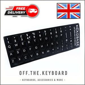 UK English Black Keycap Stickers QWERTY Keyboard Desktop, Laptop, Computer, PC