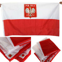 3x5 Poland Flag with Eagle Polish Banner Polska Country Pennant Best M0U1