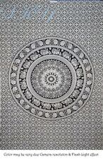 INDIAN MANDALA 6 ROUND PSYCHEDELIC TAPESTRY CEILING WHITE BLACK TWIN BEDDING 12F