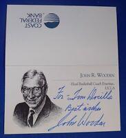JOHN WOODEN HOF deceased 2010 signed autograph 3x4 business card UCLA coach
