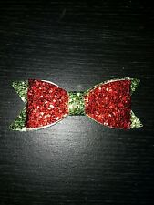 3D sequin Glitter bow red green on Motif patch christmas xmas Applique