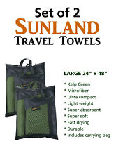 "Set of 2 SUNLAND TRAVEL TOWEL Microfiber GREEN Sport Gym Compact LARGE 24"" x 48"""