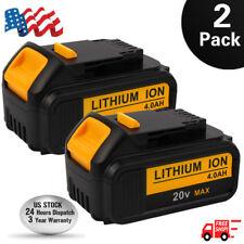 2PCS 20 Volt Battery For DEWALT DCB200 DCB204 20V Max XR 4.0Ah Lithium-Ion Power
