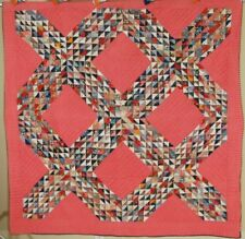 DAZZLING Vintage 1870's Ocean Waves Antique Quilt ~VIBRANT EARLY FABRICS!