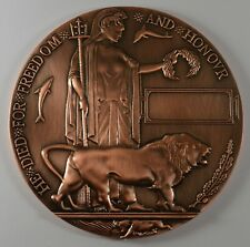 More details for full size bronze world war 1 memorial/death plaque  'dead man's penny' ww1 120mm
