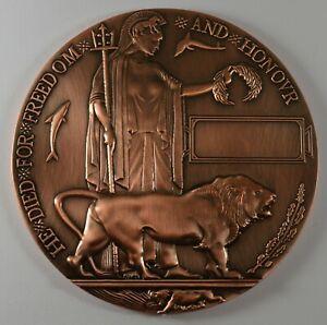 Full Size Bronze World War 1 Memorial/Death Plaque  'Dead Man's Penny' WW1 120mm
