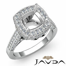 Diamond Engagement Ring Halo Setting 18k White Gold Cushion Semi Mount 1.3Ct