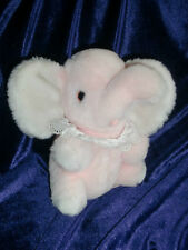VINTAGE EDEN STUFFED PLUSH PINK BABY ELEPHANT WIND UP TOY MUSICAL FARMER IN DELL