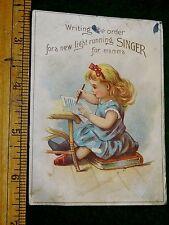 1870s New Light Running Singer Vibrator, Cute Girl Writing Trade Card F10