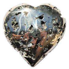 Charged AAA Golden Cocada Pyrite Crystal Puffy Heart / Palm Stone + Selenite