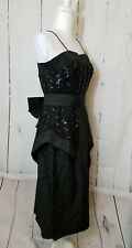 Vintage Black 80s 90s Party Prom Dress Sequins Bow Size Unknown See Measurements
