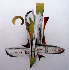 Peinture   collage abstrait abstract signé graphic pasting paint