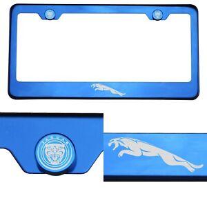 Blue Chrome License Plate Frame T304 Stainless Steel Laser Engraved Jaguar Logo