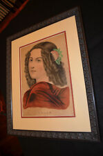 "Original Currier & Ives Colored Lithograph Print ""Helen"" Professionally Framed"