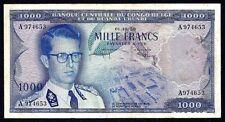 Belgian Congo 1000 Francs 1958  P-35  (Belge et Ruanda Urundi )  VF