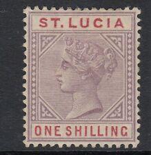 ST.LUCIA SG42 1887 1/- DULL MAUVE & RED MTD MINT