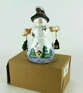 Snowman Dangle Ceramic Votive Tea Light Candle Holder Dennis East Island Creek