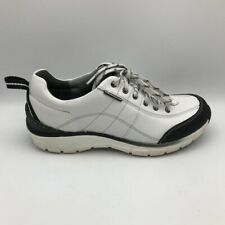 Clarks Outdoor Womens Wave Trek Walking Shoes White Low Top Lace Up Leather 7 M