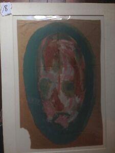 Sybil Gibson Folk Art  Outsider Portrait #8  Long  Face  Vintage