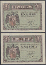 PAREJA CORRELATIVA 1 PESETA 30 ABRIL 1938 - SERIE D - SIN CIRCULAR