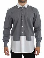 NWT $500 DOLCE & GABBANA White Gray Dotted Cotton Casual Shirt Top s. 39 / S