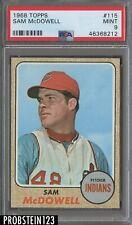 1968 Topps #115 Sam McDowell Cleveland Indians PSA 9 MINT