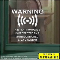 4 x PERSONALISED 24hr Security Alarm Window Stickers-Warning Signs-Home,Business
