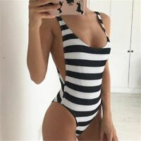 One Piece Swimsuit Women Swimwear Striped Bathing Suit Sexy Monokini Beach Wear