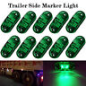 """10 x Green LED 2.5"""" 2 Diode Lights Oval Clearance Trailer Truck Side Marker Lamp"""
