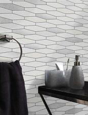 Glitter Tile Wallpaper White Black Brick Effect Washable Vinyl Kitchen Bathroom