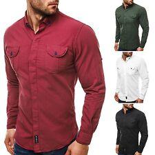 Figurbetonte Unifarben Herren-Freizeithemden & -Shirts mit Krempelärmel-Ärmelart aus Baumwolle