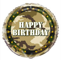 "18"" Army Military Foil Helium Balloon Party Decoration Boys Happy Birthday Camo"