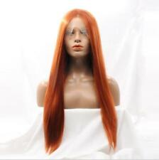 """24"""" Heat Resistant Synthetic Hair Lace Front Wig Long Straight Copper Red #130"""