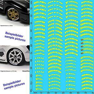 REIFEN BESCHRIFTUNG Tires Labeling #3 Yellow 18-19 Inch 1:18 Decal