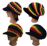 Ladies Men Jamaica Reggae Rasta Style Delux Visor Baggy Beanie Kufi Hat Cap