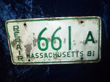 Massachusetts 1981 Repair Plate #661 A Low Number