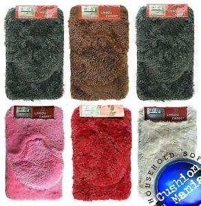 3 pieice Bath Pedestal Mat set shaggy fur Soft Luxury Bathroom Rugs Anti Slip