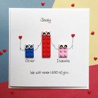 Personalised LEGO ® family Birthday Father's Day card Dad Daddy Step Dad Grandad