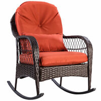 Patio Rattan Wicker Rocking Chair Porch Deck Rocker Outdoor Furniture W/ Cushion