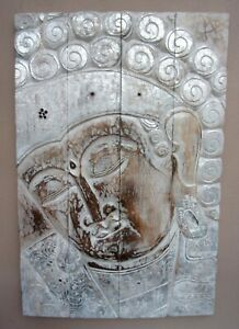 Unusual Hand Carved Large Buddha Wall Plaque Silver & White Buddha Wall Art 90cm