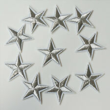 10 x Embroidery Silver Star Sew Iron On Patch Badge Bag Hat Jeans Applique Craft