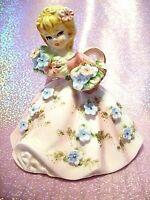 SUPER RARE VTG Japan Marika Pink Bloomer Shopper Girl Blue Flower Angel Figurine