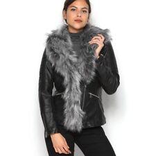 BNWT WESTSIDE FEMME amovible synthétique col en fourrure Veste Taille S-Noir