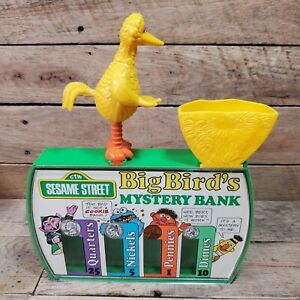 Vintage 1986 Sesame Street Big Bird's Mystery Bank Ideal Toy Coin Bank