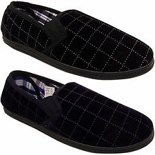 NEW MENS GENTS SOFT COMFORT CHECKED VELOUR GUSSET HARD SOLE SLIPPERS SHOES SIZE