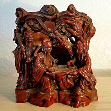 Chinese Red Polyresin Statue 3 Wise Men: Fuk, Luk, Sau – Candle Holder or Vase
