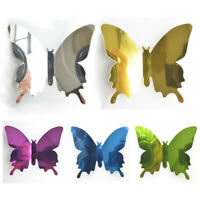 12Stkl. DIY 3D Spiegel Schmetterling Wandtattoos Aufkleber Wanddeko Wandsticker