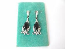 Vintage Pair Used Clip On Cut Metal Fake Gemstone Black Earrings Ladies