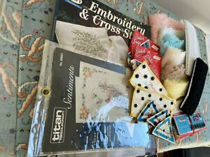 ASSORTED CRAFT LOT-  LACE - BOOK - SNAPS - PATTERNS FABRIC & MORE